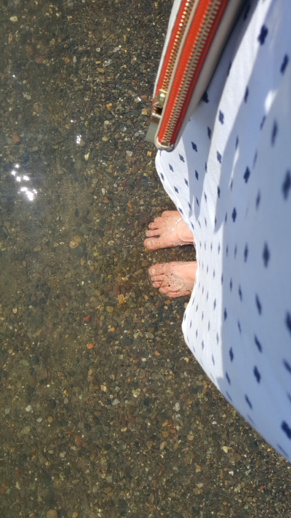 Toesies in the bracing water of snow melt down the Sacramento River